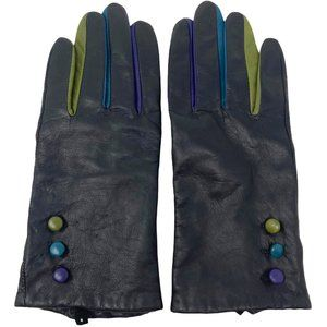 Leather Black Colorful Button Winter Gloves Ladies